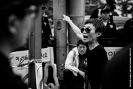 Photo Taken: Saturday May 02nd, 2015 (Insadong, Seoul) A woman is angered at the build of of police forces across the city.